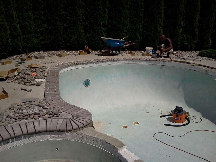 Inground pool under construction