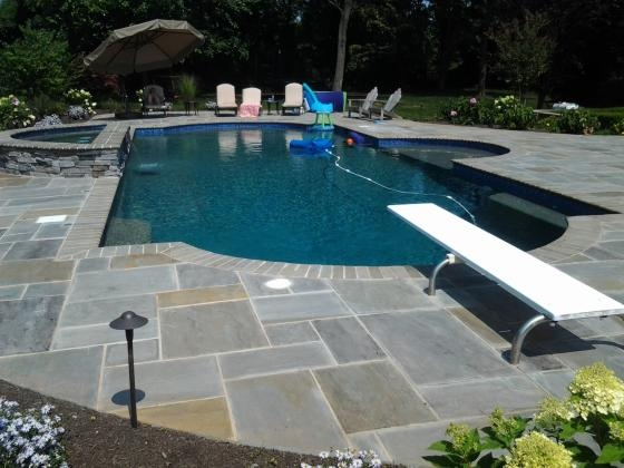 Spectacular New Pool with Blue Stone Decking. Basking Ridge, 2013