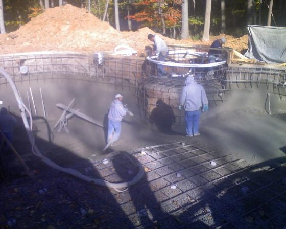 "Building the ""cage"" and ""shooting"" the gunite"