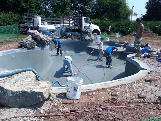 New Pool being plastered with River Rok. Branchburg, NJ