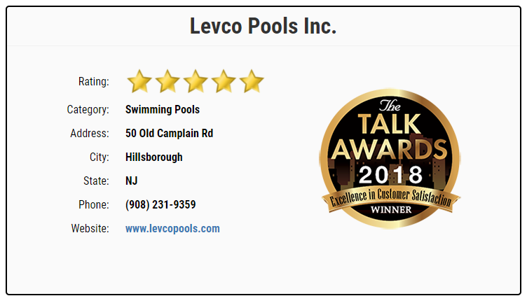 Levco Pools 2018 Award Winning for Customer Excellence Plaque