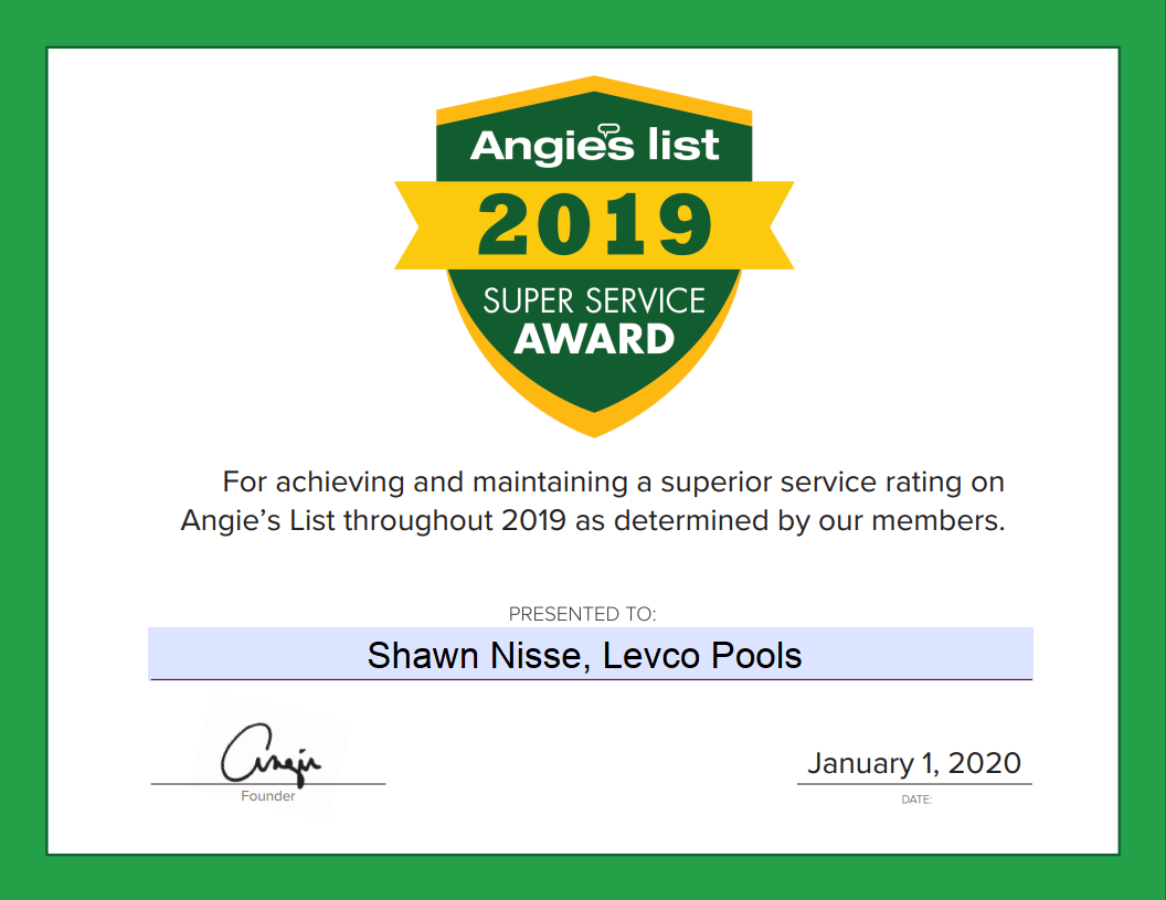 Levco-Pools-Award-Certificate